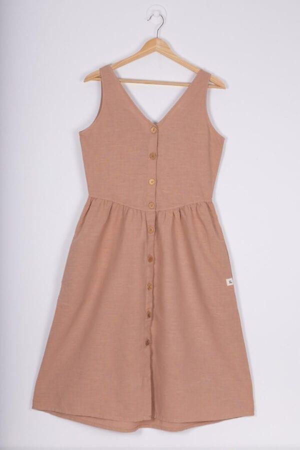 Produktfoto: Leinenkleid mit Holzknöpfen, Vorderseite
