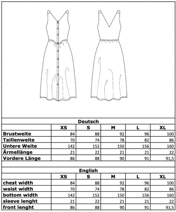 Maßtabelle: Leinenkleid mit Holzknöpfen