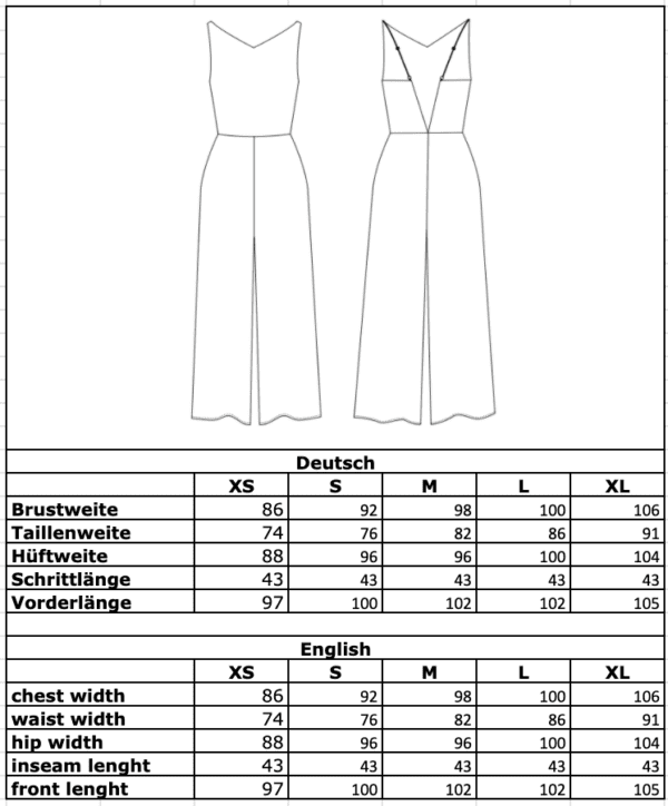 Maßtabelle: Culotte-Einteiler florales Muster