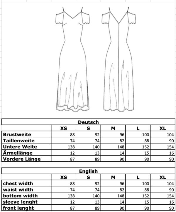 Maßtabelle: Schulterfreies Kleid