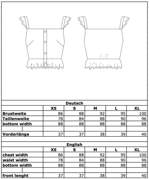 Maßtabelle: Leinentop mit Schößchen