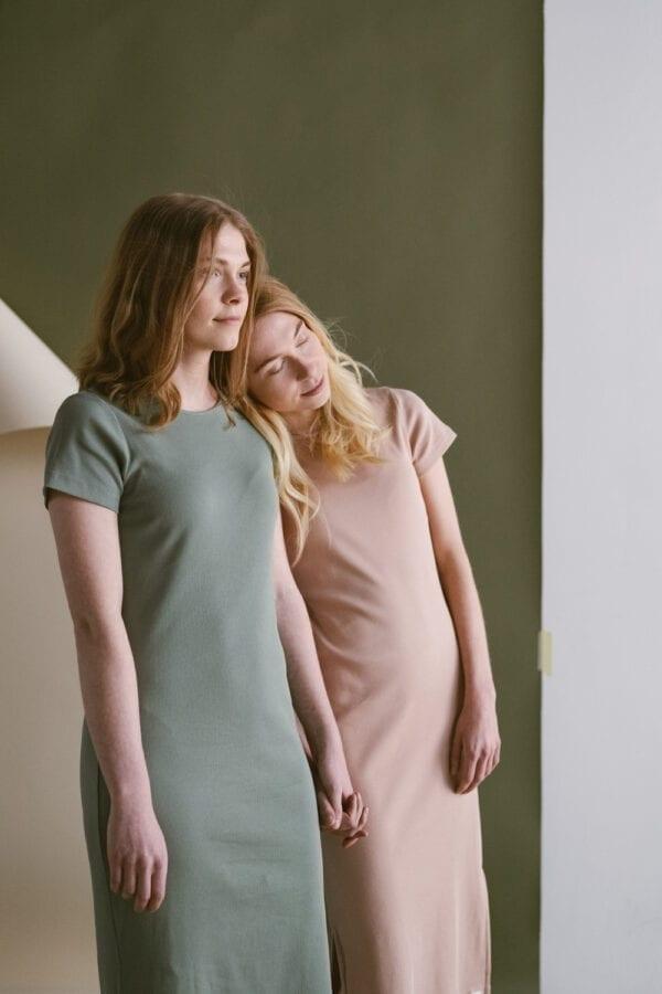 Rib Jersey Kleid in clay für Frauen