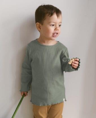 Longsleeve aus Rib Jersey für Kinder